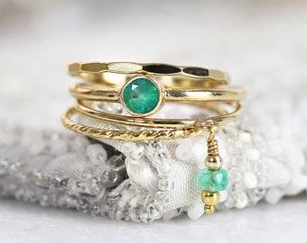 Green Emerald Stacking Ring Set - Stacking Boho Rings - Green Emerald Ring Gold - Gold Ring Stack - Gold Ring Set For Women - Ring Set Gold