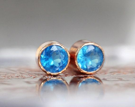 Tiny Blue Apatite Earrings - Rose Gold Blue Earrings 3mm