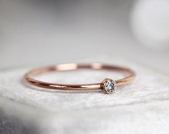 Salt and Pepper Diamond Engagement Ring - Skinny Rose Gold Diamond Ring - Solitaire Engagement Ring Rose Gold - Dainty Diamond Ring