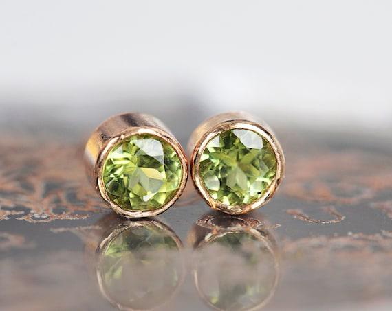 Tiny Peridot Stud Earrings - Peridot Rose Gold Studs