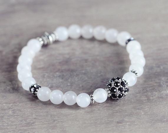 White Jade Bracelet - Pave Stretch Bracelet