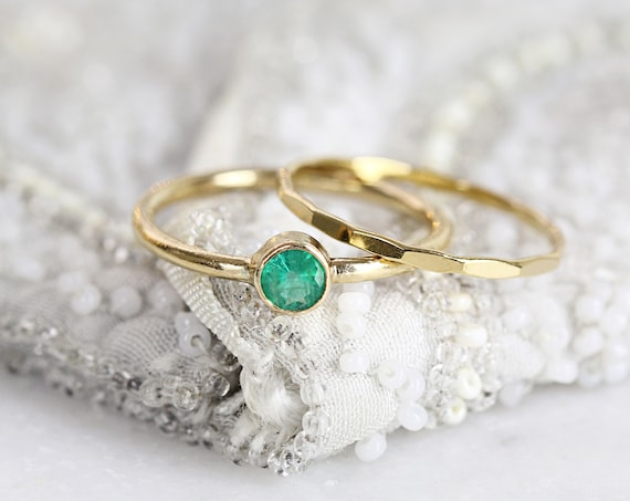 Emerald Solitaire Ring Set - Emerald Ring For Women - Stacking Birthstone Rings
