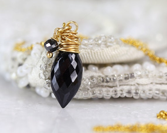 Black Spinel Necklace - Dainty Black Diamond Necklace