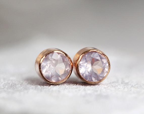 Rose Gold Rose Quartz Earrings - Pretty Earrings For Teens or Women