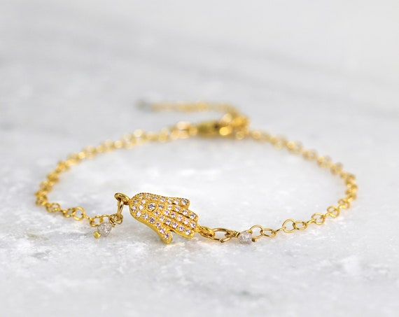 Gold and Diamond Bracelet - Diamond Charm Bracelet