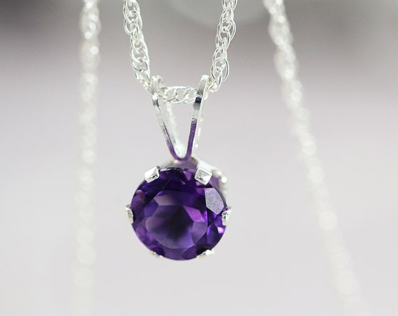 Small Round Amethyst Pendant Necklace - Silver Amethyst Necklace