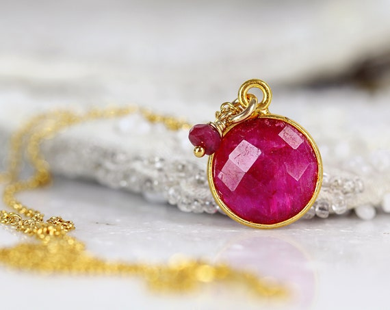 Ruby Necklace - Ruby Pendant Necklace