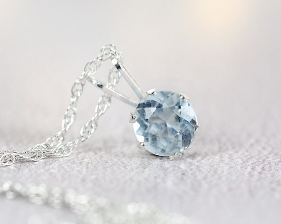 Small Aquamarine Pendant - Silver Aquamarine Necklace, Everyday Necklace Silver, Round Pendant Necklace, Solitaire Pendant, March Birthstone