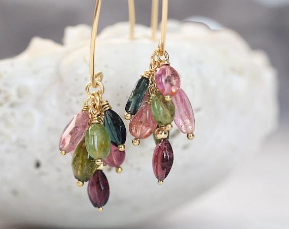 Multi Tourmaline Earrings - Dangle Cluster Earrings - October Birthstone Gift For Women - Handmade Fine Jewelry - Elegant Earrings For Her