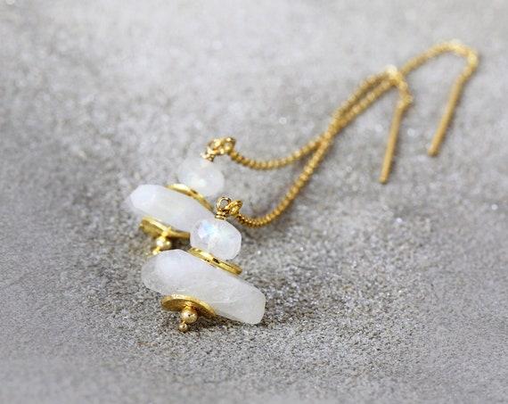 Moonstone Earrings - Gold Threader Earrings - June Birthstone - White Gold Earrings - Wedding Earrings - White Stone Earrings