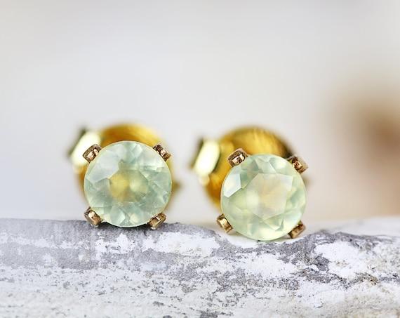 Prehnite Stud Earrings - Pale Green Prehnite Studs