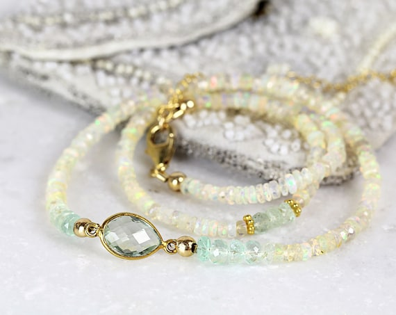 Emerald and Opal Necklace - Precious Stone Necklace