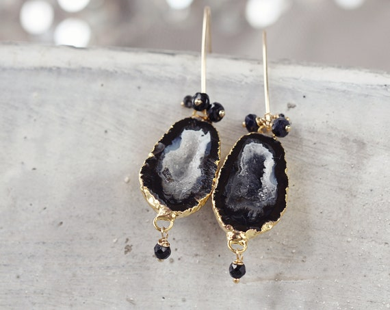 Black Geode Earrings -  Genuine Diamond Earrings