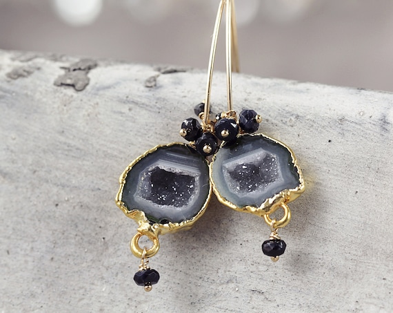 Tobasco Geode Earrings -  Black Diamond Earrings