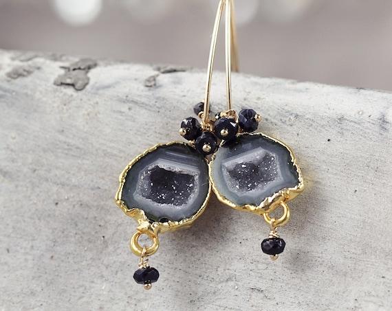 Tobasco Geode Earrings -  Black Diamond Earrings