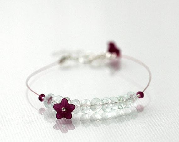 Aquamarine Bracelet with Garnet Gemstones and Flower Charm