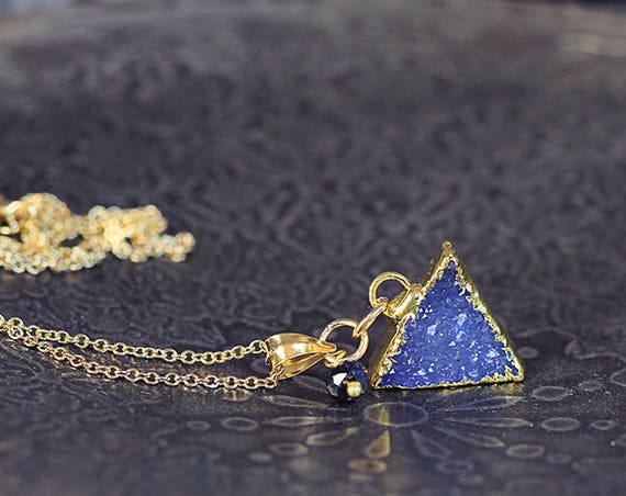 Blue Druzy Necklace - Modern Triangle Necklace