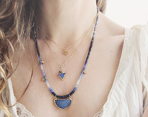 Blue Geometric Necklace - Druzy Triangle Necklace