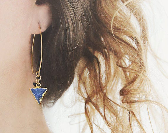 Blue Druzy Earrings - Modern Triangle Earrings