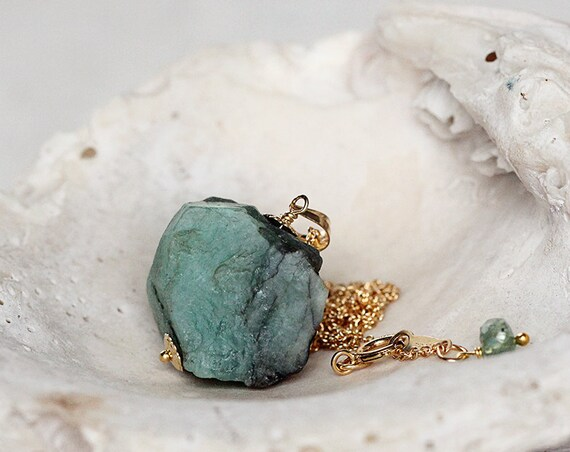 Raw Emerald Necklace -  May Birthstone Necklace