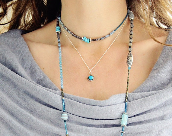 Dainty Turquoise Necklace - Pave Diamond Necklace