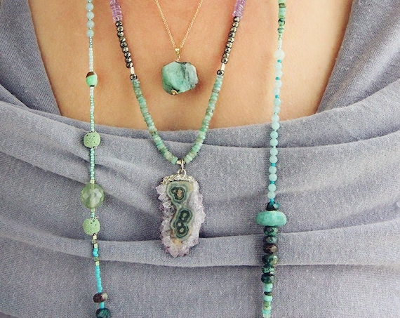 Amethyst Stalactite Necklace - Amethyst and Emerald Necklace - Colourful Gemstone Necklace - February Birthstone & May Birthstone