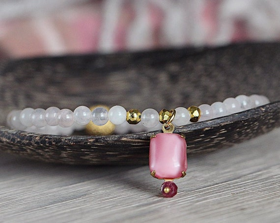 Rose Quartz and Ruby Bracelet - Bohemian Charm Bracelet