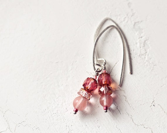 Cherry Quartz Earrings - Everyday Earrings - Dangle Earrings - Gemstone Earrings - Pretty Drop Earrings - Pink and Silver Earrings