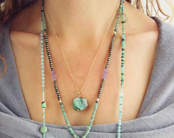 Emerald Layering Necklace - Gemstone Nugget Necklace