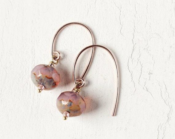 Rose Gold Earrings - Minimalist Earrings For Women - Rose Pink Earrings