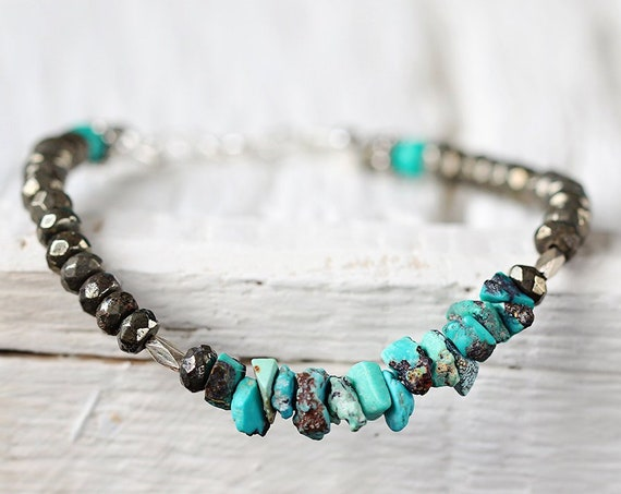 Raw Turquoise Bracelet - December Birthstone Gift For Her