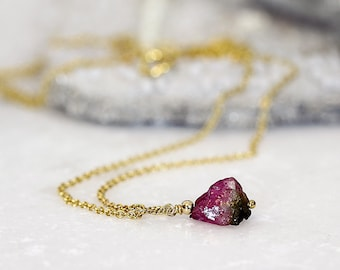 Watermelon Tourmaline Pendant - Raw Stone Necklace - October Birthstone Necklace - Raw Tourmaline Necklace - Tiny Stone Necklace
