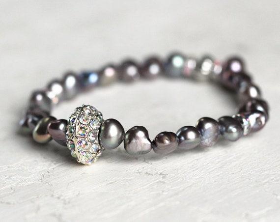 Gray Pearl Bracelet - Pave Bracelet