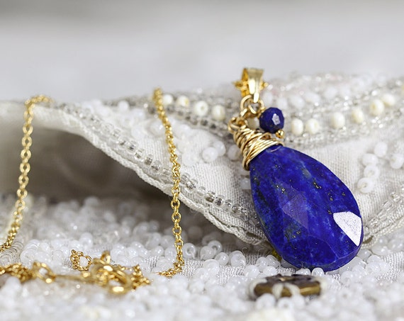 Lapis Lazuli Necklace - Blue Stone Pendant Necklace