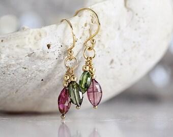 Tourmaline Earrings - Pink Tourmaline Earrings - Dangle Gemstone Earrings - October Birthstone Earrings - Green Tourmaline Earring LAST PAIR
