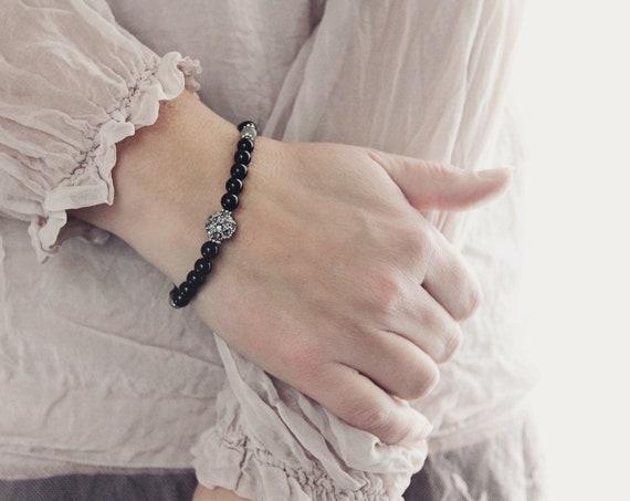 Pave & Black Onyx Bracelet - Black Bracelet