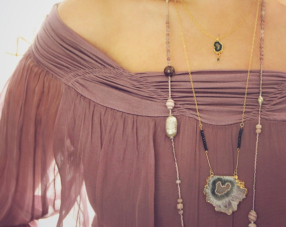 Long Amethyst Statement Necklace - Boho Luxe Amethyst Jewelry