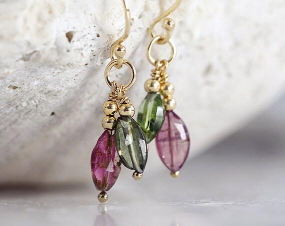Tourmaline Earrings - Pink Tourmaline Earrings - Dangle Gemstone Earrings - October Birthstone Earrings - Green Tourmaline Earrings