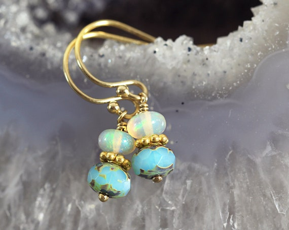 Ethiopian Opal Earrings - Opal Jewellery