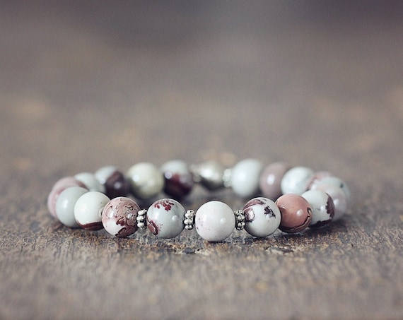 Gemstone Stretch Bracelet - Natural Jasper Bracelet