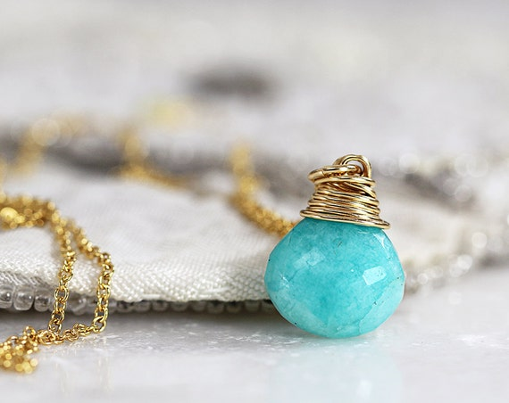 Amazonite Necklace - Green Teardrop Necklace - LAST ONE