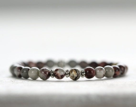 Natural Jasper Bracelet - Rustic, Earthy Stone Jewelry