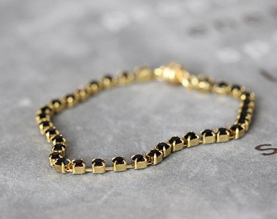 Black Rhinestone Bracelet - Black & Gold Bracelet