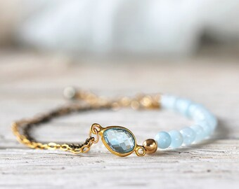 Blue Topaz Bracelet - Dainty Bracelet for Her - Topaz and Aquamarine Bracelet - Blue Topaz Jewelry - November / March Birthstone