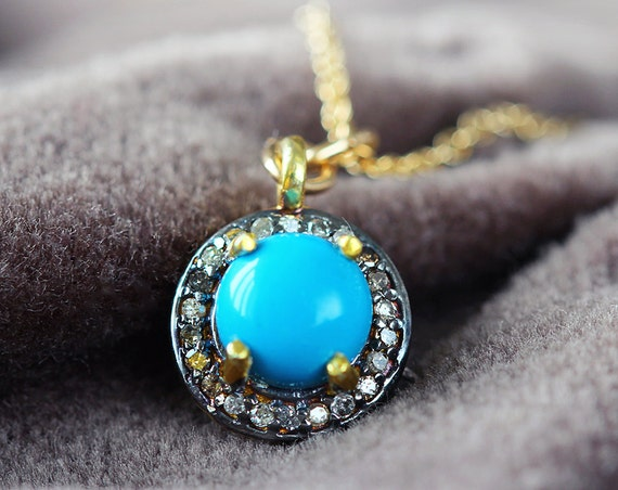 Diamond Pave & Turquoise Necklace