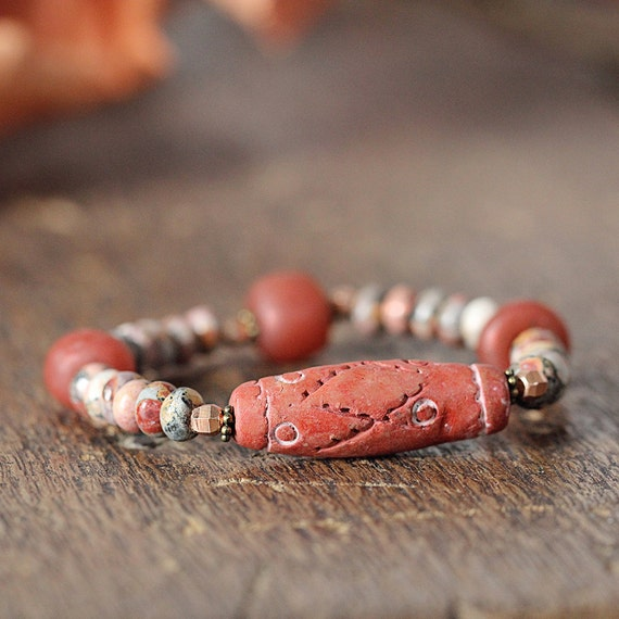 Chunky Bracelet - Burnt Orange Bracelet - Earthy Jewelry - Ethnic Bracelet - Tribal Bracelet - Earthy Autumn Jewelry