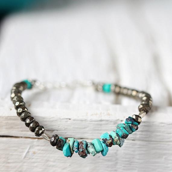 Raw Turquoise Bracelet - December Birthstone Gift For Her