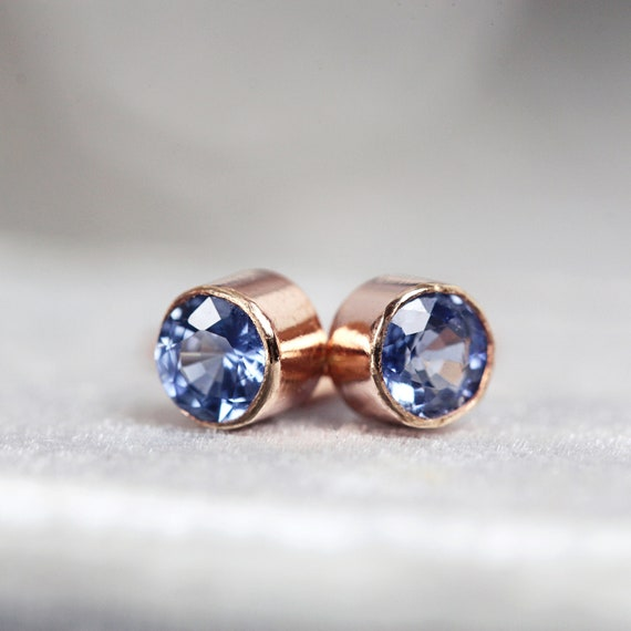 Rose Gold Sapphire Earrings - Blue Sapphire Anniversary Gift for Wife - Fine Jewelry - Bezel Set Sapphire Earrings - Tiny 3mm Stud Earrings