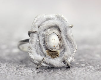 Druzy Ring in Sterling Silver - Organic Ring - One of a Kind Ring - White Stone Ring - Fossil Ring For Women - Unique Ring - Fossil Jewelry