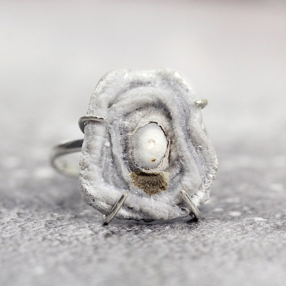 Druzy Ring in Sterling Silver - Organic Ring - One of a Kind Ring